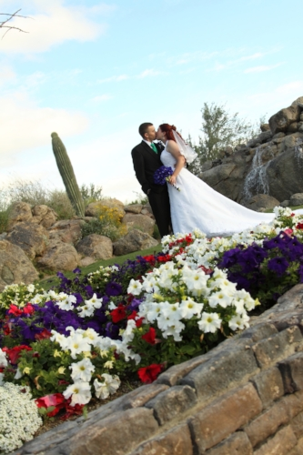Bride and groom from a private residence ceremony located in Mesa Arizona coordinate by Sweet I Do's Wedding Day Management Specialist