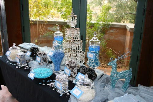 Custom blue and white wedding candy buffet designed by Sweet I Do's Wedding Day Management Specialist at a private home in Wickenburg Arizona