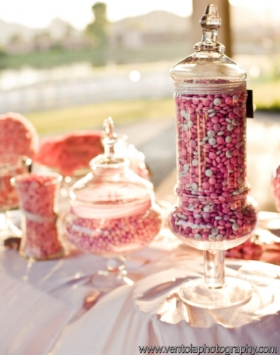 Custom pink and white wedding candy buffet designed by Sweet I Do's Wedding Day Management Specialist at McCormick Ranch Golf Club in Scottsdale Arizona