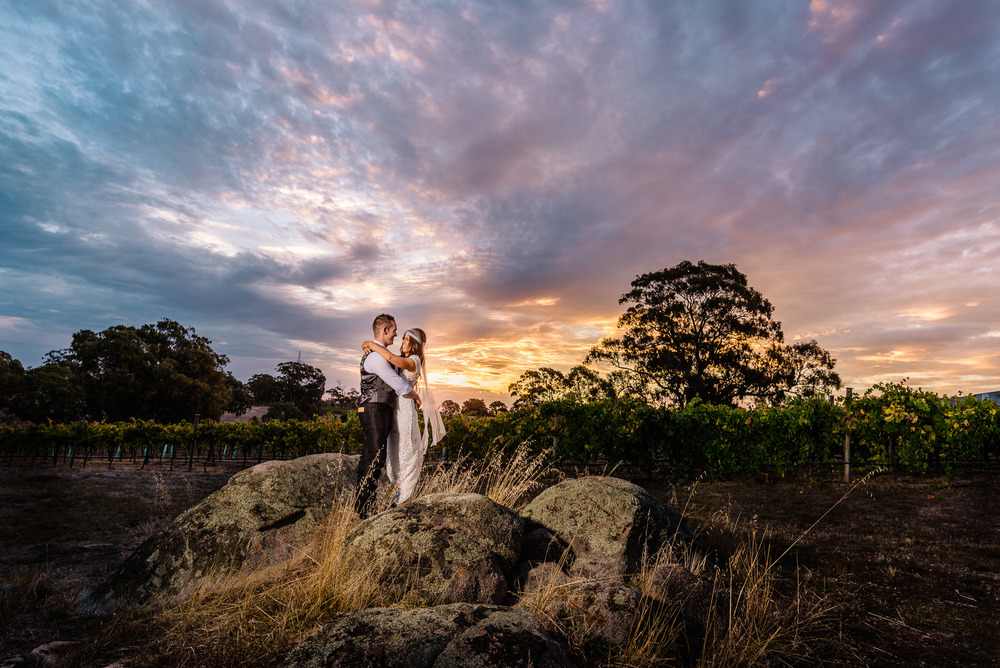 Sunset Wedding Photography at Big Hill Winery, Bendigo