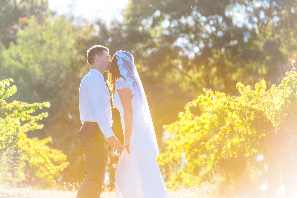 Bride and Groom kiss in the vineyard at Chateau Dore in Bendigo