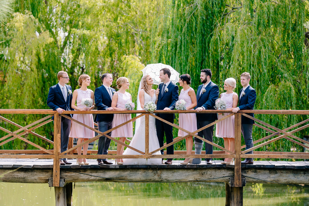 Perricoota Vines Wedding Photographer Echuca Moama Bridal Party Bridge
