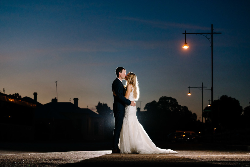 Sunset Twilight Bride and Groom at the Historic Port of Echuca - Radcliffes Wedding Photographer Echuca