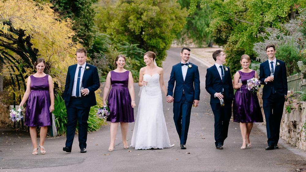 Bridal Party Walking down the driveway at Fortuna Villa Bendigo