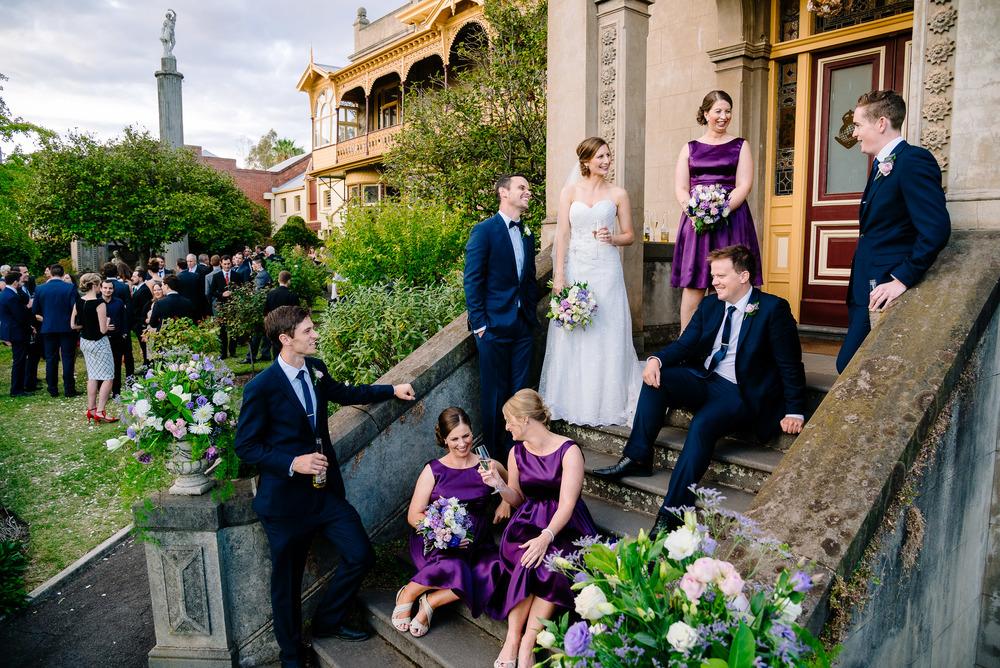 Wedding Party on the steps of Fortuna Villa Bendigo
