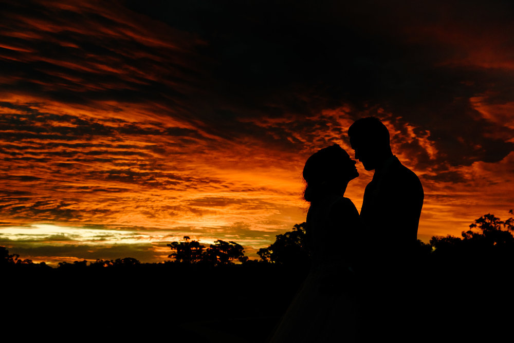 Sunset Silhouette Wedding Photography at Sutton Grange Winery