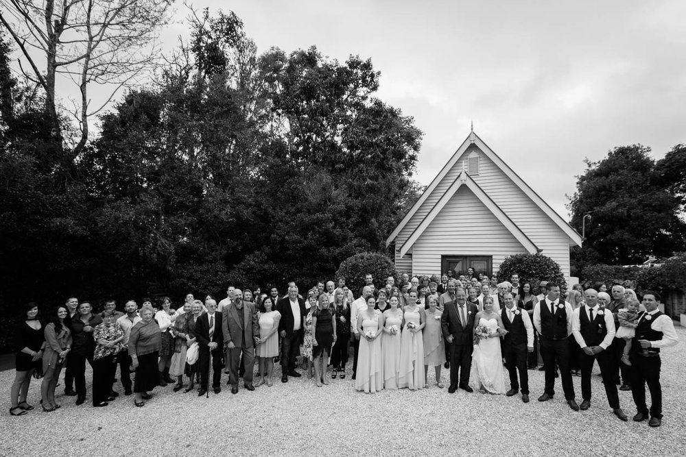 Professional Little White Wedding Church Group Photo - Brisbane, Sunshine Coast, Australian Photographers