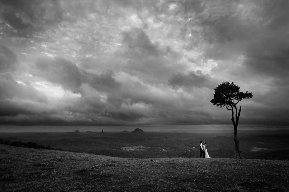Stormy One Tree Hill, Maleny Wedding Destination Photographers - Brisbane, Sunshine Coast, Australian
