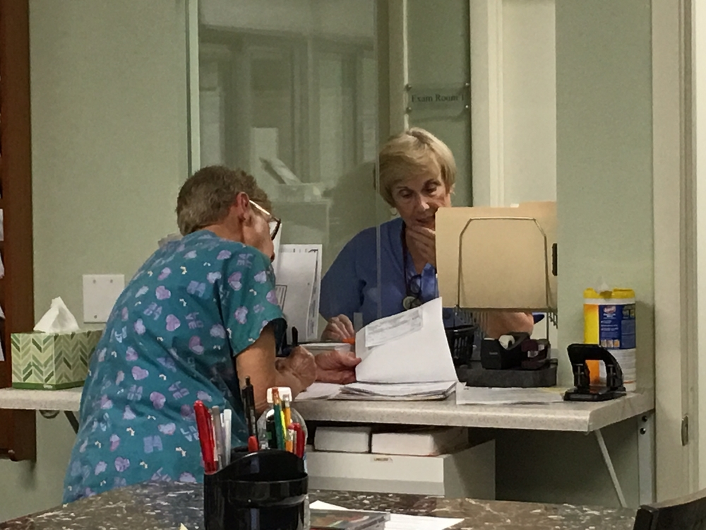 Kathy V. and Deb working hard!