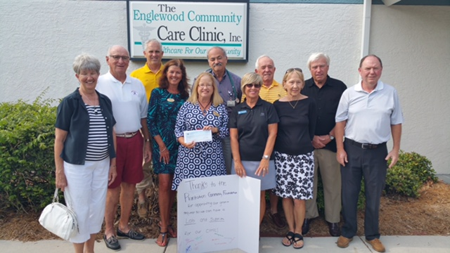 The Board of the Plantation Community Foundation along with clinic volunteers Jim Harrison and Dr. David Klein, Board member Joni Hyde, and Executive Director Beth Harrison