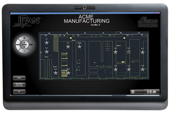 Above: iFan allows you to control each and every fan in your facility with the simplicity of a touch screen computer.