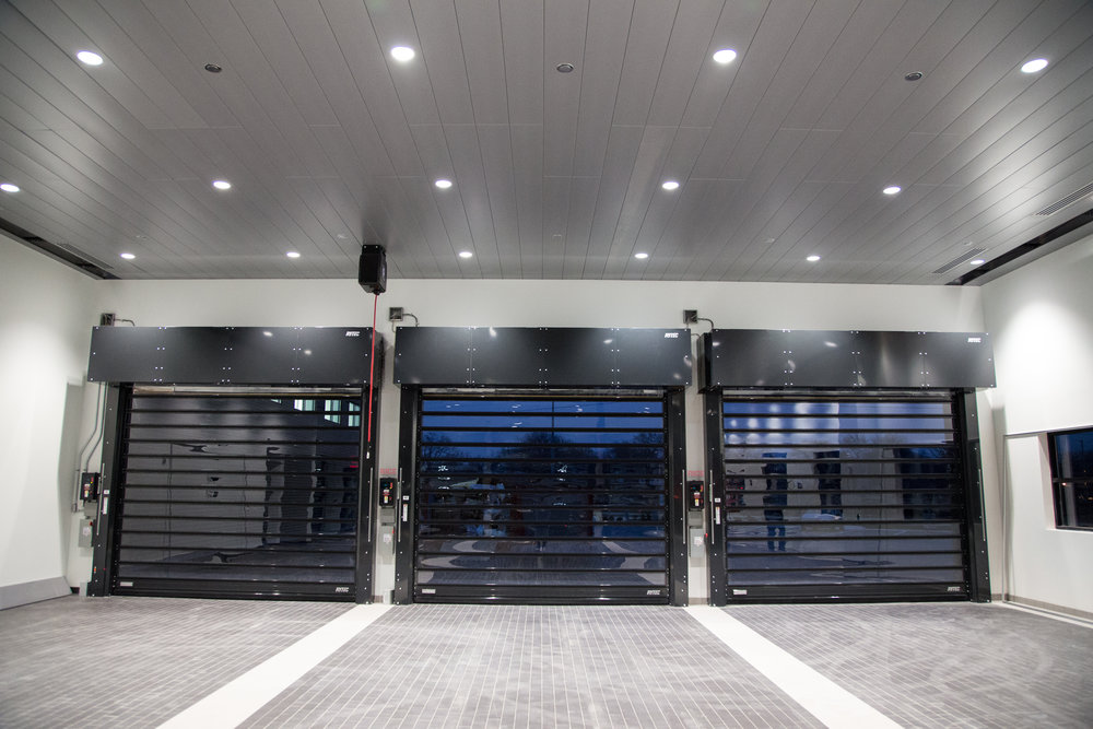 Installation of customized Rytec \ Spiral FV\  doors. These \ Porsche Black\  doors & High Speed Rolling Doors \u2014 Rice Equipment Co. Loading Dock \u0026 Door ...