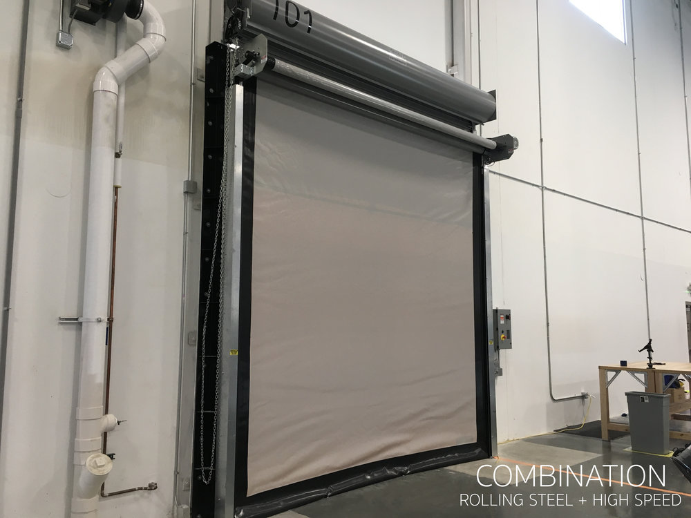 Dual High Speed Door and Rolling Steel Door Used in combination