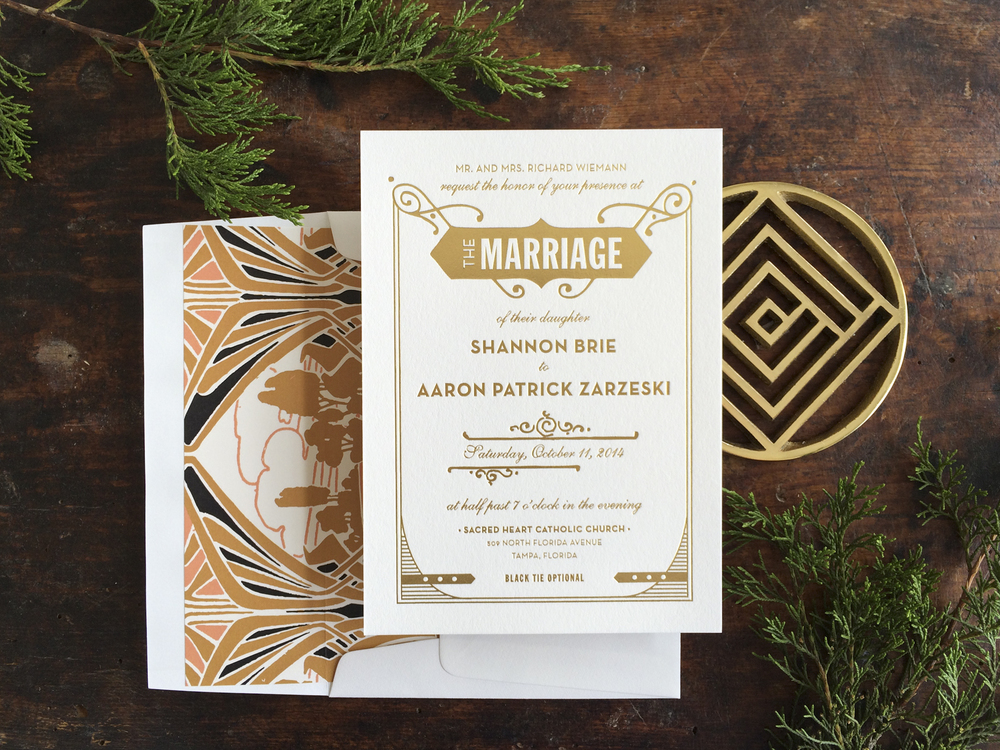 Lovely Gatsby Gold Foil Wedding Invitation Design