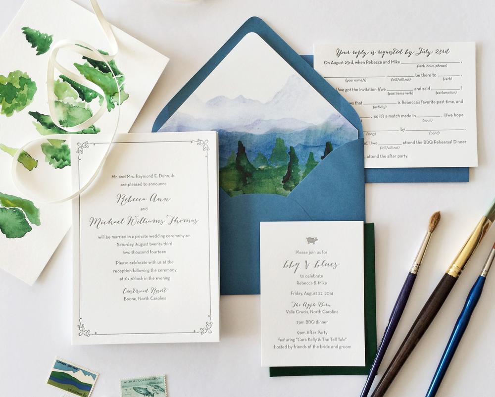 rebecca mikes watercolor mountain wedding invitations - Mountain Wedding Invitations