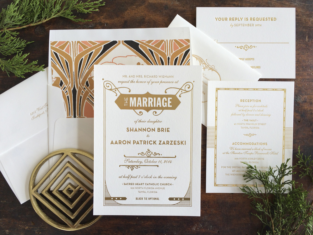 art deco wedding invitations hello tenfold wedding invitations