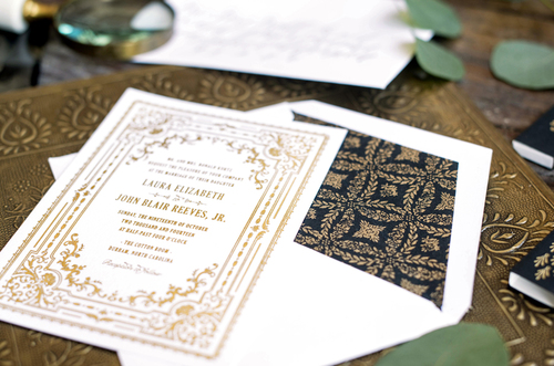 letterpress black gold wedding invitationjpg - Gold Wedding Invitations