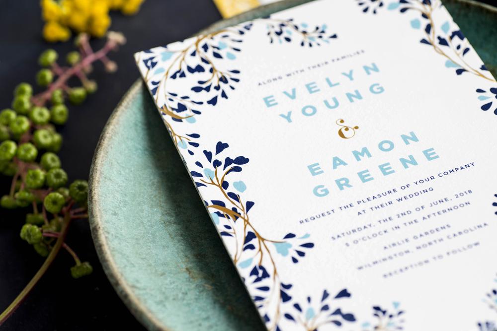 HelloTenfold Floral Blue Wedding Invitations