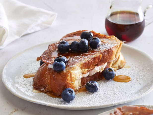 Stuffed French Toast with Fresh Strawberry Jam and Blueberries