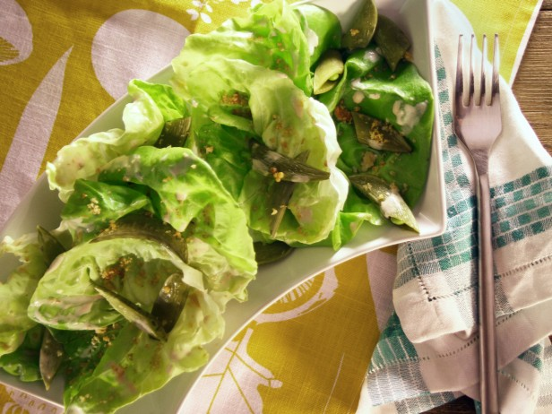 Butter Lettuce Salad with Pickled Sugar Snap Peas