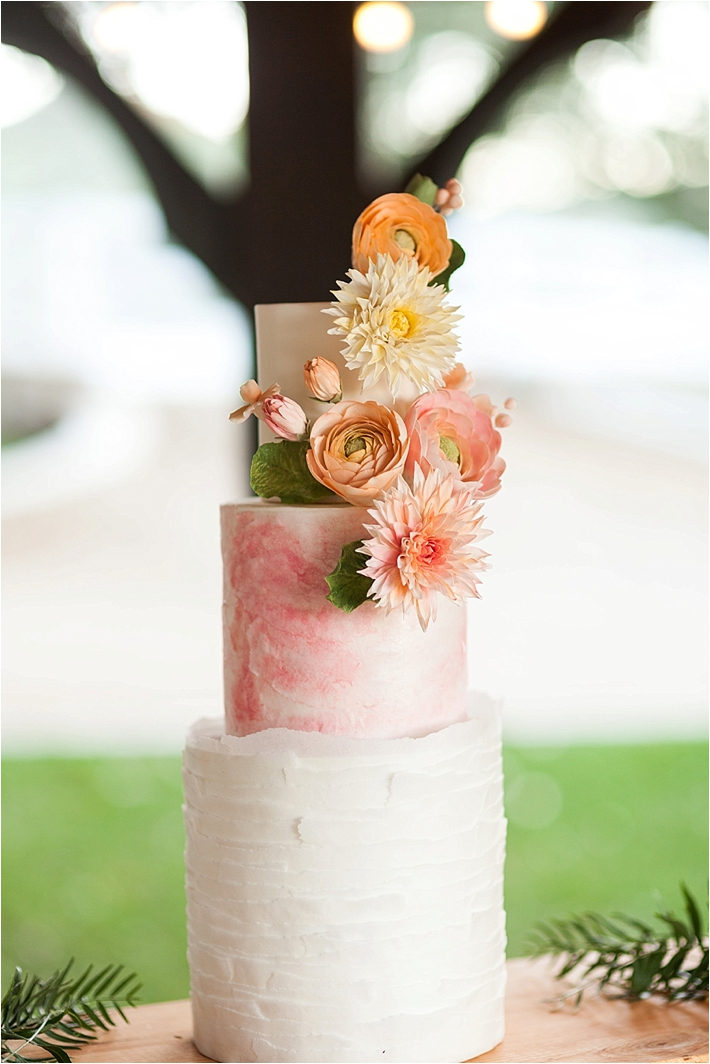 marble and watercolor sugar flower wedding cake