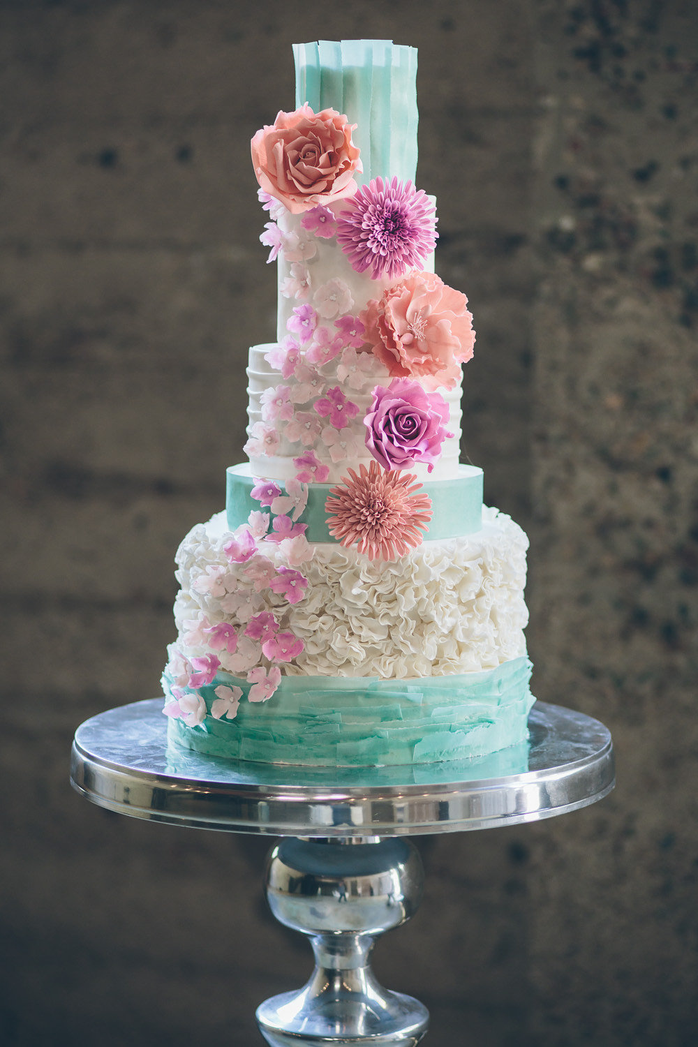 Whimsical Teal And Pink Wedding Cake
