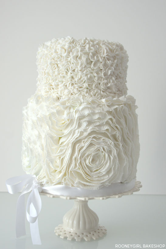 White in White Ruffles Cake