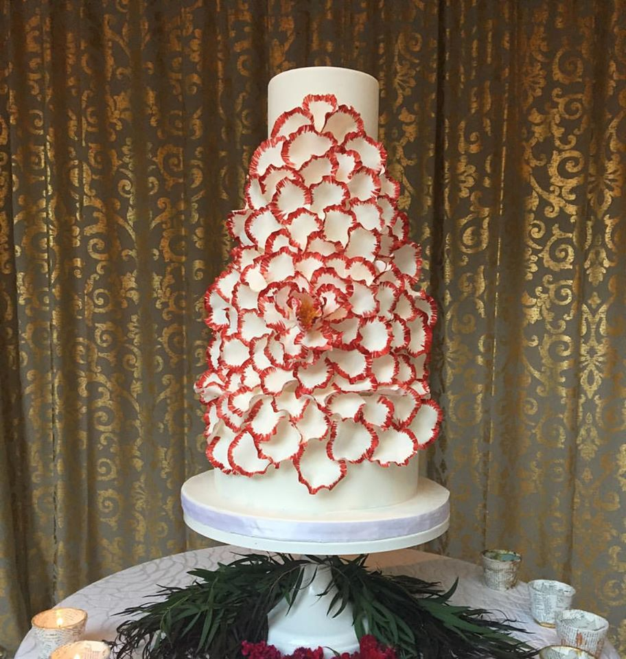 Crimson Exploding Peony Wedding Cake Grace and Honey Cakes Orange County California