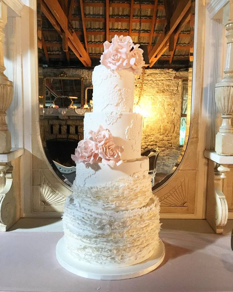 Frills and Lace Applique Vintage Wedding Cake