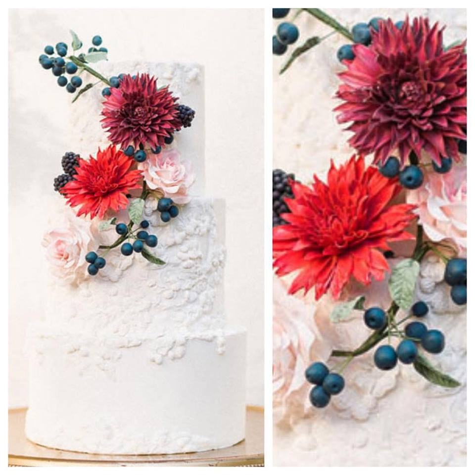 Bas Relief and Sugar Dahlia Fall Wedding Cake Grace and Honey Cakes Orange County California