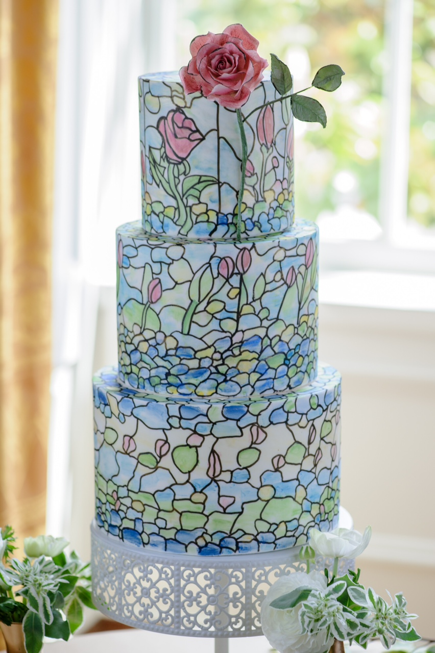 stained glass Sleeping Beauty inspired Wedding Cake Grace and Honey Cakes Orange County California