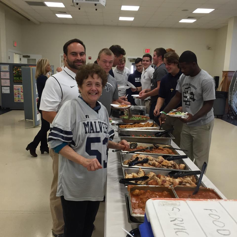 Elisa and the Students of Malvern Prep, Malvern PA. Preparing Dinner for the Malvern Prep Football Team. Elisa is showing her support for this amazing program by donating a portion of her proceeds to the team. Use CODE Malvern Football at checkout to support the team.