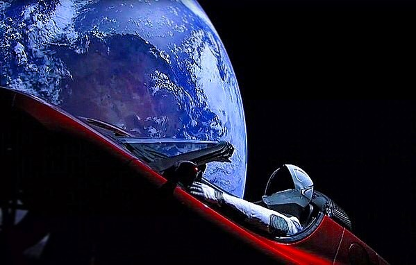 A car in space!  Exciting and crazy world we live in.  I am incredibly inspired watching the #falconheavy launch today! Amazing where technology and innovation have gotten us so far and inspiring to imagine where we are headed.  #space #mars #explore #spacex #nasa #jwst #tesla #humans #future