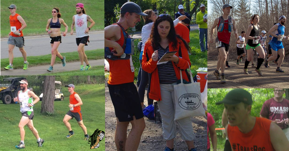 Clockwise from Top Left: Final laps at Mind The Ducks, Mike getting some coaching from Val, Muddy Sneaker start, Eye of the Tiger at Ontario Summit, The only time I was ahead of Mike at Crooked Creek. (Muddy Sneaker credit:  IAMLESHER ; All others: Friends and Family)
