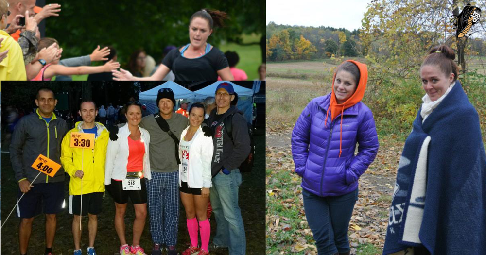 """UL: Amber in her """"Racing Days"""", LL: With friends, prepping for her BQ at the Erie Marathon, R: Putting in the effort to see her friends at the trail"""