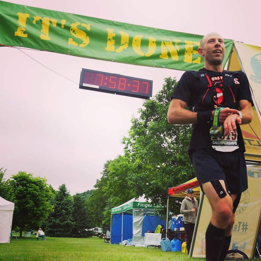 Jason Finishes Cayuga Trails 50 in under 8 hours. (Photo: Mountain Peak Fitness)