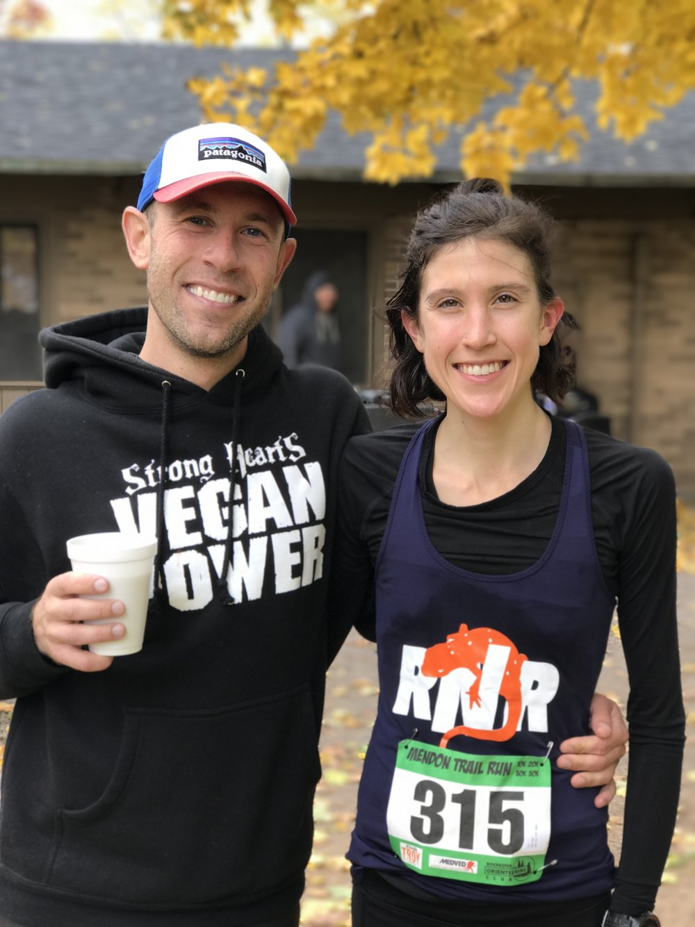 Jason Mintz and Ellie Pell at Mendon 50k (p:Chris O'Brien)