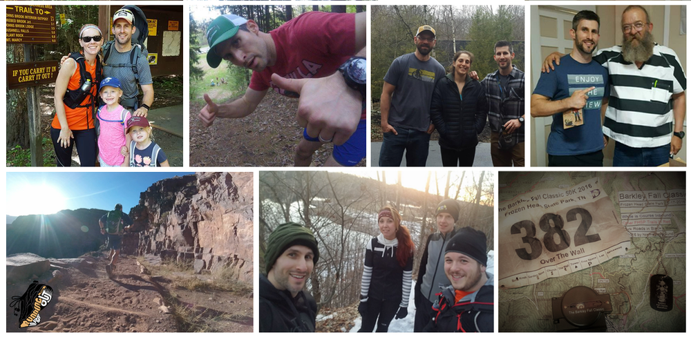 L-R, Top: A fine family hike in the Adirondacks; King of the PMP Hill Challenge; Getting ready for the Dix Range; Laz; Bottom: Descending S.Kaibab in the Grand Canyon; New Year with Old Friends; Barkley Fall Classic