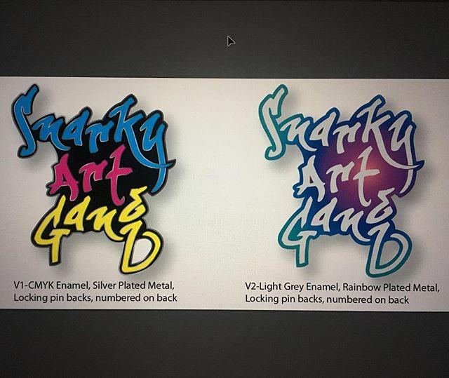 Working on an enamel pin design. Which would you choose? #snarkyartgang #enamelpin #newwork #graphic #type #cmyk #rainbow