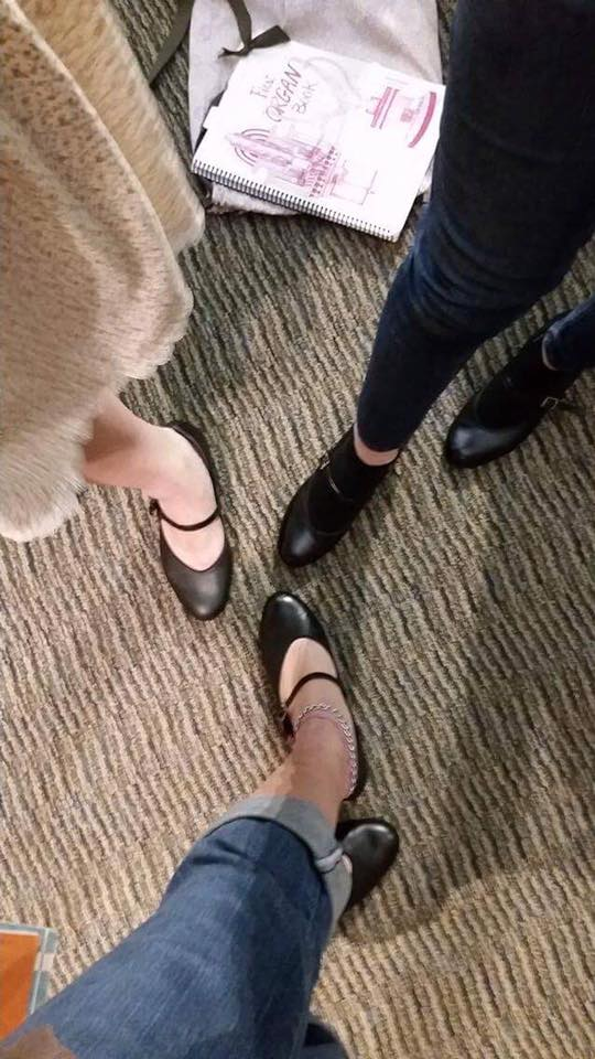 Me, Rebecca, and Miriam. Sorry it's not artsy. But the shoes!