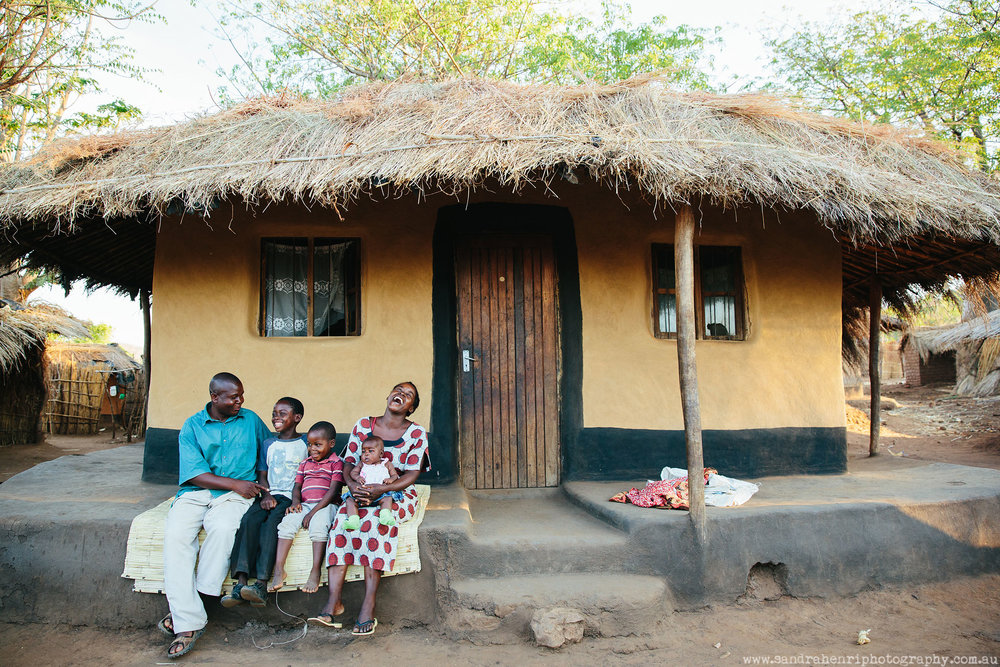 Family photo in African village in Malawi