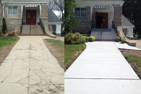 Before and after view of the front walkway and stairs at the entrance of the church
