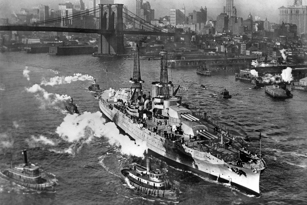 USS Arizona on the East River. December 25, 1916.