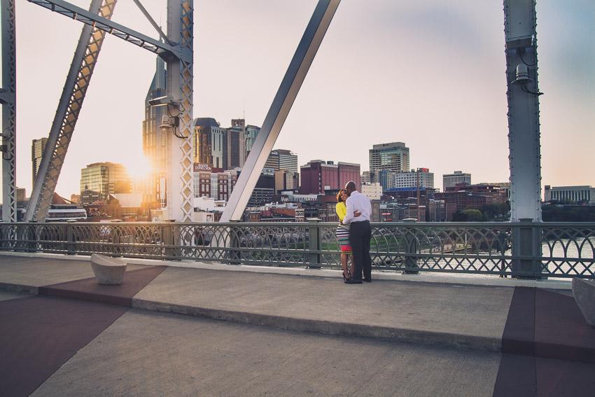 Great Sunset on The Pedestrian Bridge in Nashville