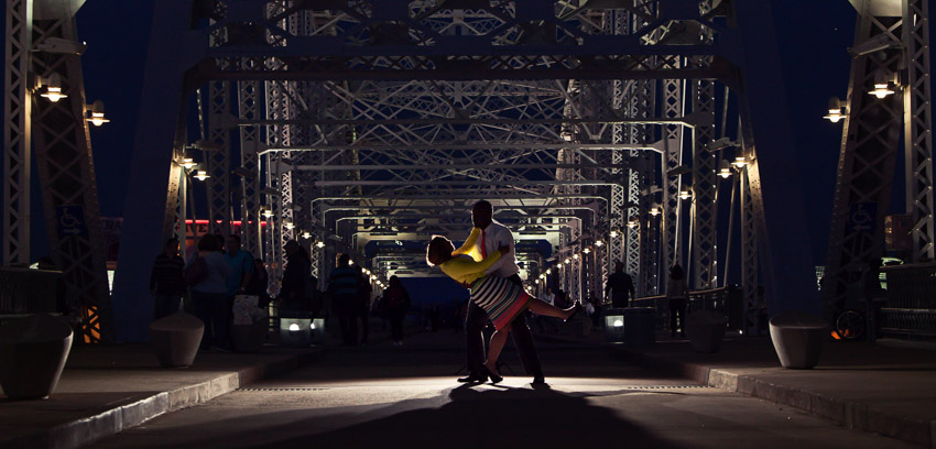 The Pedestrian Bridge is beautiful at night and great for Nashville Engagement Photos