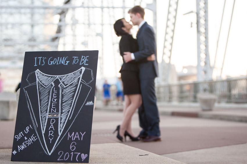 Nashville Wedding Photographer Pedestrian Bridge Engagement Session Photos