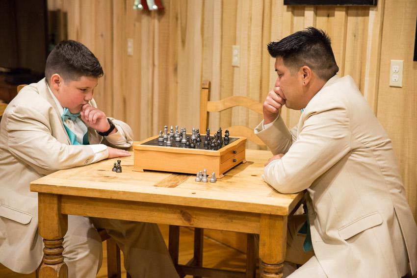 Father Son pre wedding chess game