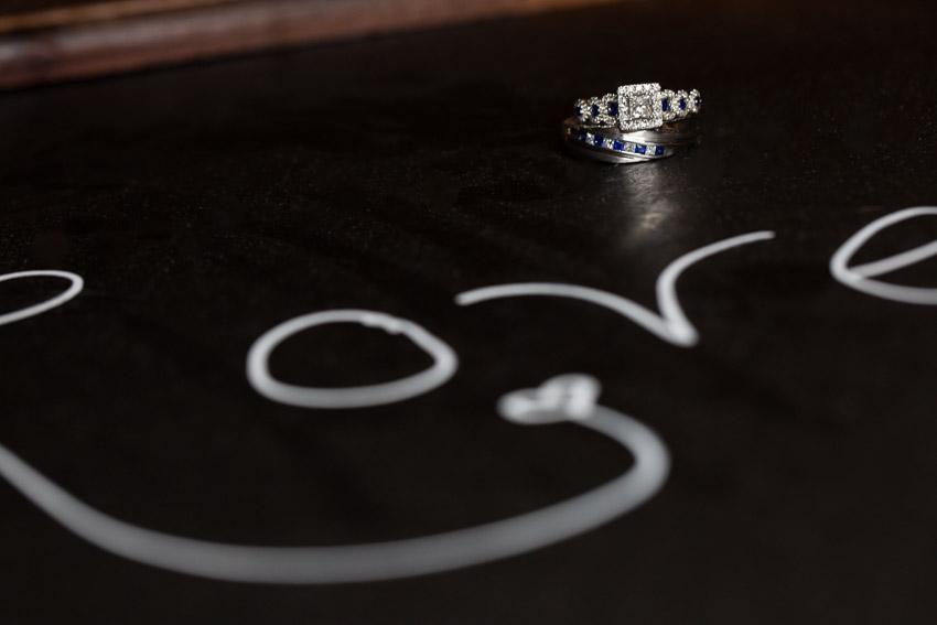 Wedding Ring Photo on Chalk board