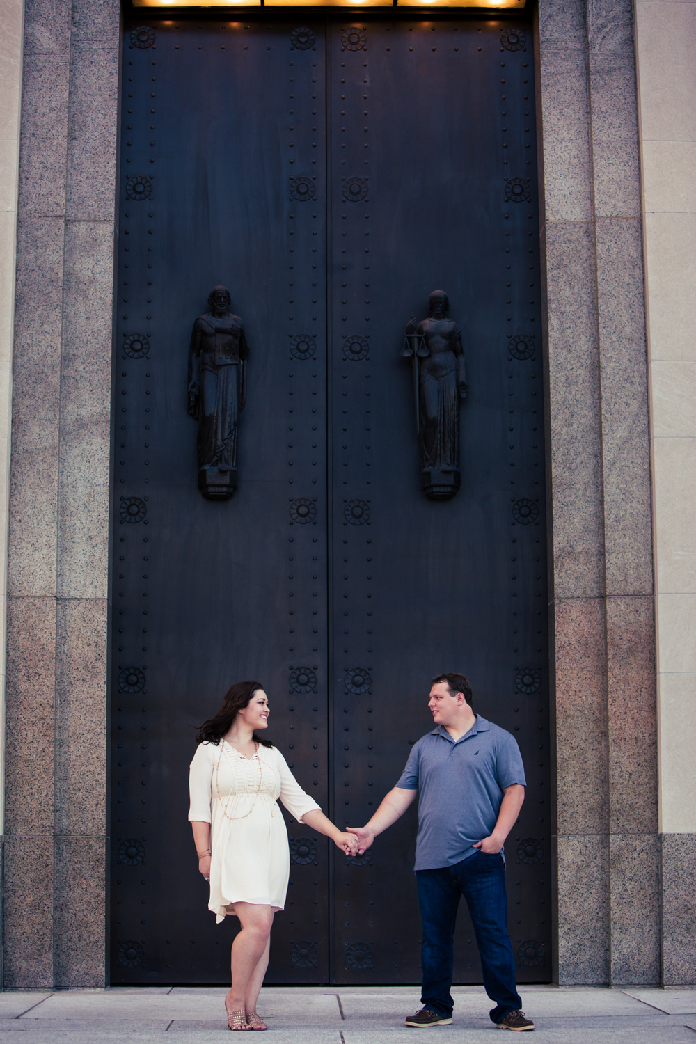The Courthouse makes the perfect backdrop for this couples cute Nashville engagement photo at Public Square Park.