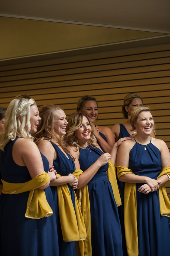Gift shop photo of bridesmaids smiling at Nashville Zoo Wedding